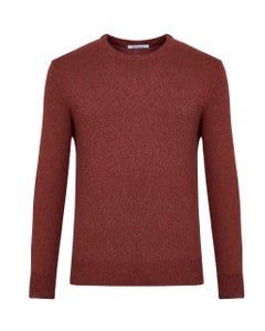 Maglia girocollo rossa lana mouliné_0